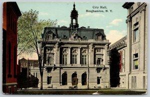 Binghamton NY~2nd Empire Architecture City Hall~Widows Walk~Mansard Roof~c1910