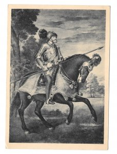 Titian Painting Kaiser Karl V After Battle Muhlberg 4X6 Equestrian Art Postcard