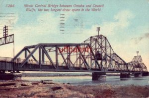 ILLINOIS CENTRAL BRIDGE BETWEEN OMAHA AND COUNCIL BLUFFS 1914