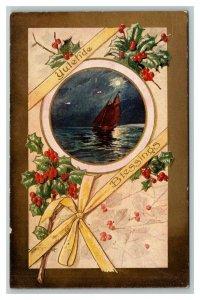 Vintage Early 1900's Postcard Yuletide Blessings Embossed Mistletoe Sailboat