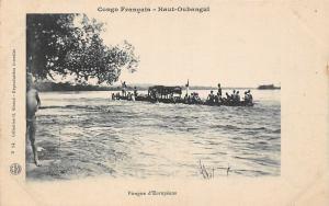 Congo Francais - Haut-Oubangui, Upper Ubangi, Pirogue d'Europeens, Canoe, Boat