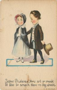 E G Kemble~Puritan Courtship~Sister Prudence~Meek~May I Smack Thee on Thy Cheek?