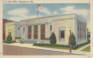 U.S. Post Office, Hagerstown, Maryland, Early Linen Postcard, unused