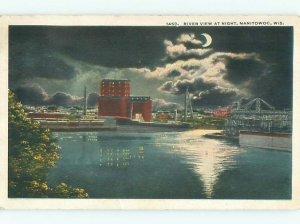 W-border RIVER SCENE Manitowoc Wisconsin WI AE6451
