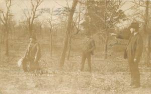1906 Gary Indiana 1906 Post Office Site Men Suits RPPC real photo postcard 2293