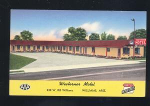 WILLIAMS ARIZONA ROUTE 66 WESTERNER MOTEL AAA OLD ADVERTISING POSTCARD
