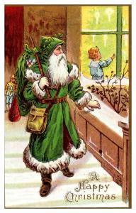 Santa Claus Green Suit , Carrying Bag of Toys