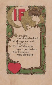 Womans head looking at flower, Moon, IF, Poem, 1912