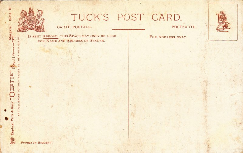 P1822 old tucks art postcard unused fishermen margate fishermen boats low tide