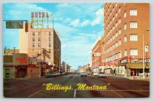 Billings Montana~1st Avenue~Hotel General Custer~Northern Drug~No Left Turn~1960