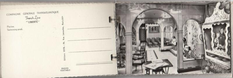 RP: Ocean Liner LIBERTE , 20 Postcard album, Le Havre - New York, 1950s