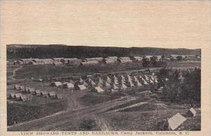 South Carolina Columbia View Showing Tents And Barracks Camp Jackson