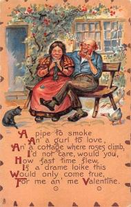 Valentine's Day Old Couple a pipe to smoke, a gurl to love Leatherette