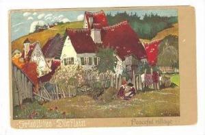 Art postcard, Peaceful Village, Germany, 00-10s
