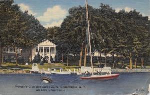 Chautauqua New York~Women's Club & Shore Drive~Sailboat Floating Anchor~1947 PC