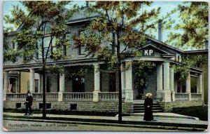 Huntington, Indiana Postcard K of P Lodge House Knights of Pythias Fraternal