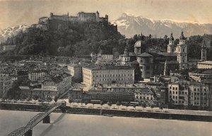Salzburg vom Kapuzinerberg Bridge River Church Castle Panorama Postcard