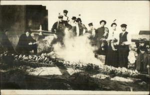 Dungeness Crab Fish Bake Picnic 1914 North Bend OR Cancel Real Photo Postcard