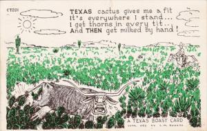 Texas Boast Card Cow Among Cactus