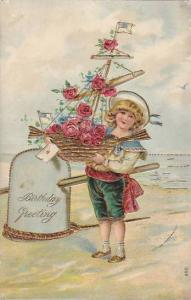 Boy with basket sailboat full of flowers , BIRTHDAY , PU-1908