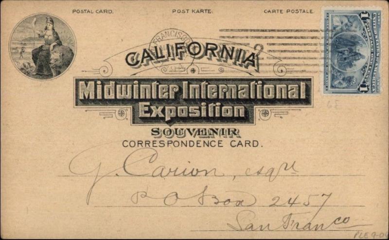 1894 California Midwinter Internaional Expo USED Pioneer Postcard #1 jrf
