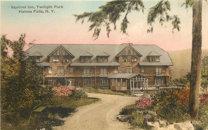 1920s Hand-Colored Postcard Squirrel Inn Twilight Park Haines Falls NY Greene Co
