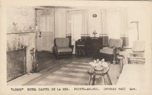 RP: POINTE-AU-PIC , Quebec , 1930-40s ; Lobby , Hotel Castel de la Mer