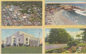 Fresno CA Memorial Auditorium Aerial Park 4x 1940s Postcard s