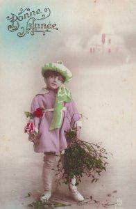 RP: NEW YEAR, 1900-10s; Bonne Annee, Little girl wearing green hat/pink coa...