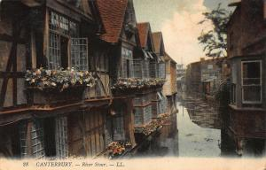 Canterbury River Stour Flowers Houses Postcard
