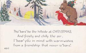 Brown bear sneaking away with a Christmas tree, Greeting Poem, 10-20s