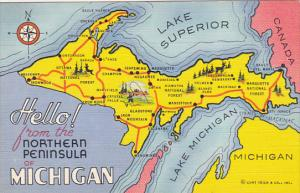 Map Of The Northern Peninsula Of Michigan Curteich
