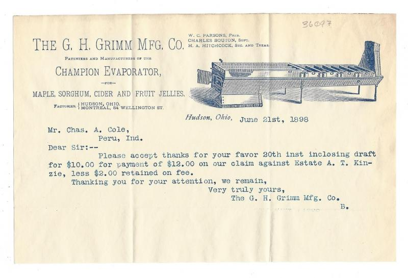 1898 Illustrated Letterhead Champion Evaporator G H Grimm