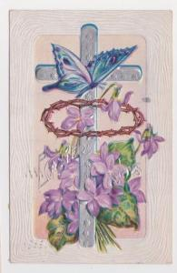 Goshen IN Cross Blue Butterfly Early 1900s Easter Greeting Vintage Postcard A35