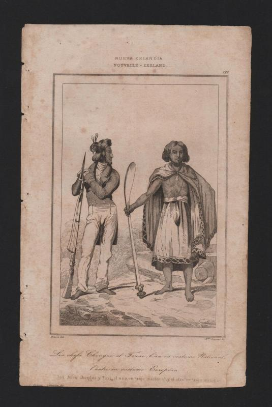 NZ RARE! ANTIQUE PRINT 19 Century Year1830 NEW ZEALAND NATIVE ETHNIC COSTUMES