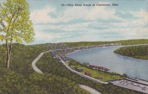 Ohio Cincinnati Ohio River Scene At Cincinnati 1953