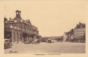 DUNKERQUE , Nord , France , 1910s ; La Place de la gare