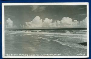 Beach at Padre Island Corpus Christi Texas tx real photo postcard RPPC