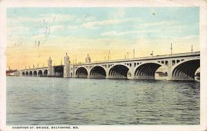 Hanover Street Bridge, Baltimore, Maryland, Early Postcard, Used in 1923