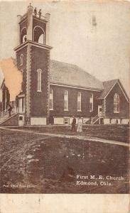 Edmond Oklahoma First ME Church Street View Antique Postcard K40285