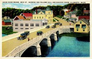 ME - Ellsworth. Union River Bridge, Main Street, Odd Fellows Hall, Hancock Hotel