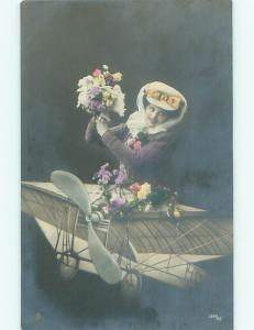 tinted rppc c1910 AIRPLANE WITH FLOWERS AC9014