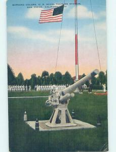 Military Cannon At U.S. Navy Training Station San Diego California CA J8215