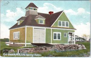 RYE BEACH, NH  New Hampshire    LIFE  SAVING  STATION   1915   Postcard