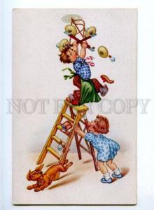 176990 COMIC Boy on Ladder Chandelier DACHSHUND Vintage PC