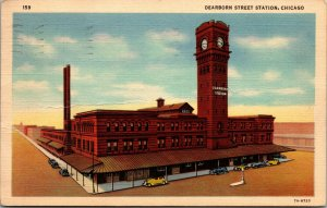 CHICAGO,ILLINOIS - IL -  DEARBORN STREET STATION - LINEN - POSTED - POSTCARD