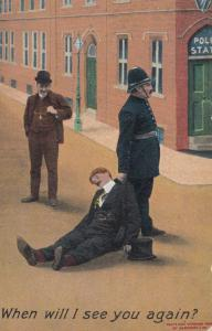Police Policeman Arresting Drunk Man Outside Police Station Old Comic Postcard