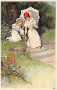 Elegant Victorian Mother & Lil Girl Catch Butterflies~Net~White Parasol~Emboss
