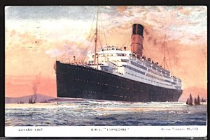 England Postcard RMS Franconia Launched 1922 Very Small Corner Crease  Lower Rt.