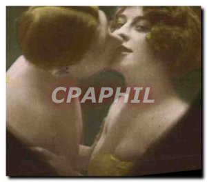 Postcard Old erotic Nude Female Heart
